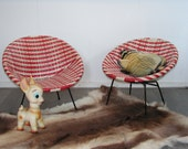 Vintage set of two red white wickerwork design child's bucket chairs,  The Jam chair, 1950s