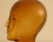 Vintage amber honey glass Mannequin  Head for Display, Hat, Wig Headphones Stand - Home Decor - Space Age