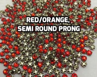 12ss Red/Orange Rose Montee Rhinestones in Modern Settings