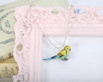 Parakeet Necklace -  Budgerigar Pendant Necklace -  Animal Necklace - Parakeet Animal Jewellery - Bird Necklace - Parakeet Pendant Necklace