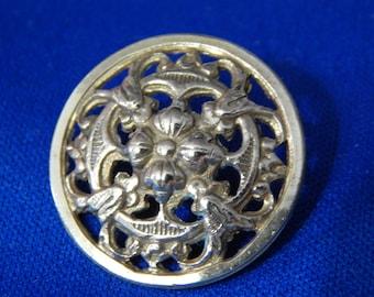 Pierced Brass Floral Design Button