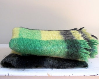 Vintage Scottish Mohair Throw Blanket in Lemon and Green, 1960's