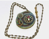 ON SALE Steampunk Jewelry, Watch Parts Pendant, Brass Bead Chain, Vintage Parts, Swarovski Crystal Accent, Holloween Gift,  Pendant Necklace