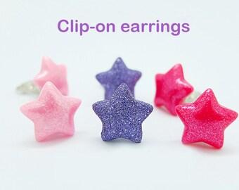 Pair of STARS  clip-on earrings for children