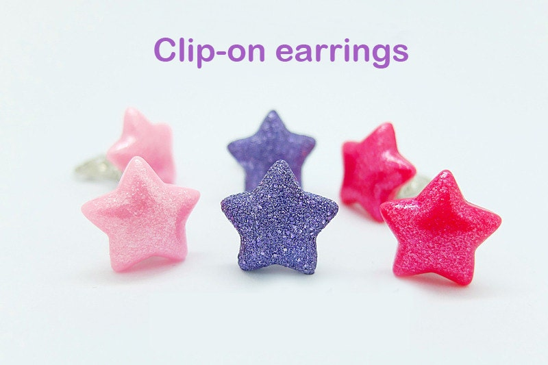 pair of stars clip on earrings for children. Black Bedroom Furniture Sets. Home Design Ideas