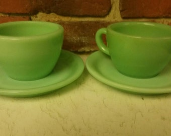 Set of 2 Mint Vintage Fire King Jadeite Restaurant Ware G299 & G295 Cups and Saucers