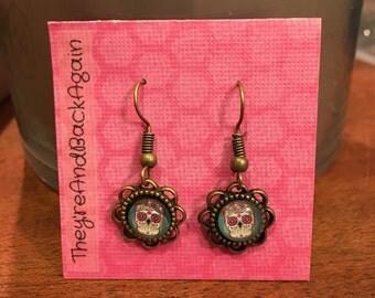 8mm Colorful Skull Glass Dangle Earrings