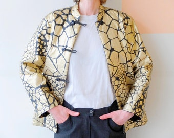 1980s gold chinese jacket  LV SPORTSWEAR PARIS made in France