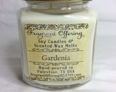GARDENIA scented Soy candles in 9 oz. oval hex glass jars with gold lids