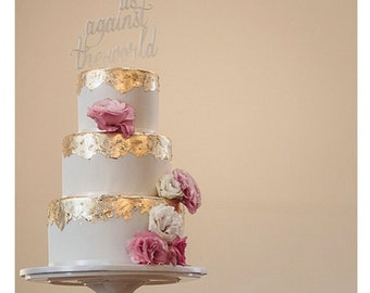 Black Us Against The World, Engagement Cake Topper, cake topper, wedding cake topper,custom cake topper, monogram cake toppers, home decor