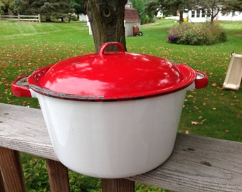 Vintage Enamel White and Red Pot With Lid