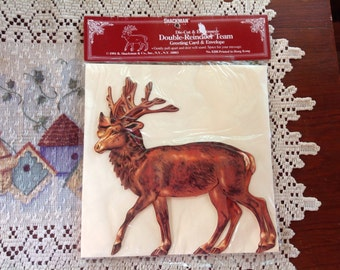 Vintage Standup Reindeer Christmas Card Die Cut Embossed Reindeer Holiday Greeting Card NOS By Shackman
