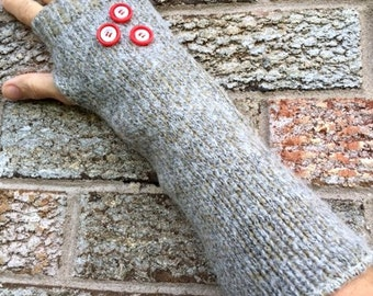 Fingerless gloves, Arm warmers, Texting gloves, made from a recycled sweater of wool and angora blend