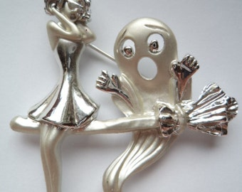 Vintage Signed AJC Silvertone/Matt Witch and Ghost Brooch/Pin