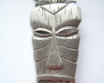 Vintage Signed JJ Silver pewter African Warrior Mask Brooch/Pin