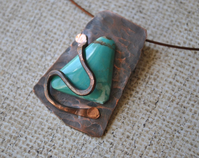 Turquoise stone and copper Pendant necklace, rustic, blue necklace, metal necklace