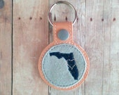 Choose Your State Snap Key Chain, Navy Blue Embroidered on Peach Vinyl and Gray Wool Felt with Silver Snap, Made in USA, State Key Fob