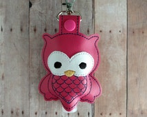 Owl Hand Sanitizer Holder- Raspberry Pink Embroidered Vinyl with Snap, Great for Backpacks, Bags and Purses, Made in USA, Quick Ship