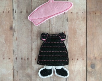 Felt Doll Paris Outfit, 2 Pieces, Embroidered Acrylic Felt, Pretend Play, Unpaper Doll, Nonpaper Doll, Flat Doll Clothes, Made in USA