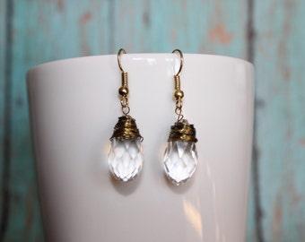 Wire Wrapped Earrings - Crystal Earrings - Gold Dangle Earrings - Crystal and Gold Earrings - Teardrop Crystal Earrings - Stone Earrings