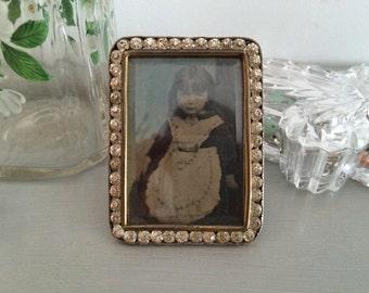 Beautiful Antique White Metal, Brass and Paste Set Tiny Photo Frame