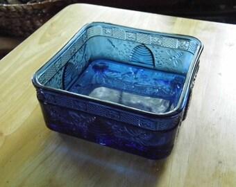 Cobalt Blue Square Beehive Open Bowl Dish