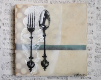Shabby Chic, Kitchen Art: Fork and Spoon Encaustic