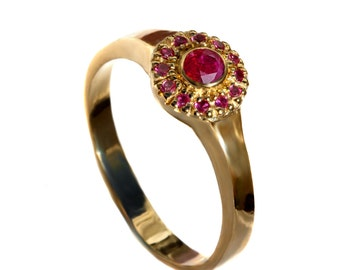 Natural Ruby engagement Ring, Antique Ruby and yellow gold ring, rubies halo Ring, Right Hand Ring, handmade engagement, july birthstone