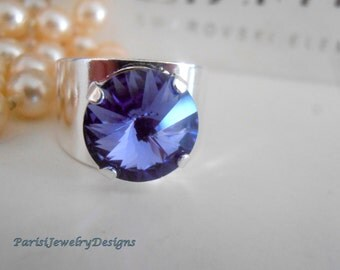 Tanzanite Swarovski Ring, Band Ring, Blue Crystal, Rivoli 12mm, Adjustable Rings, Statement, Silver Plated Prong, Coctail Fashion Rings