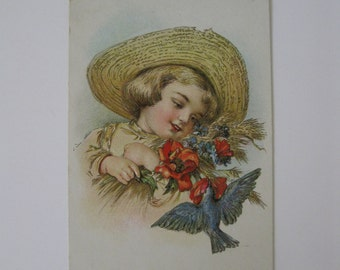 Vintage Post Card - Little Girl with Straw Hat Holds Bright Flowers as Bluebird Flies By - Published by LR Conwell, NY - Used - 1909