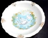 JSV Germany Bowl, White Swans in Lake, Gold Trim, Scalloped Edges, Antique, Made in Germany, Round Serving Bowl, Decorative Bowl