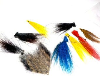 Fly Fishing Lure Supplies, DIY Fishing Lure Materials, Fishing Supplies, 9 Fur Swatches for Handmade Fishing Lures