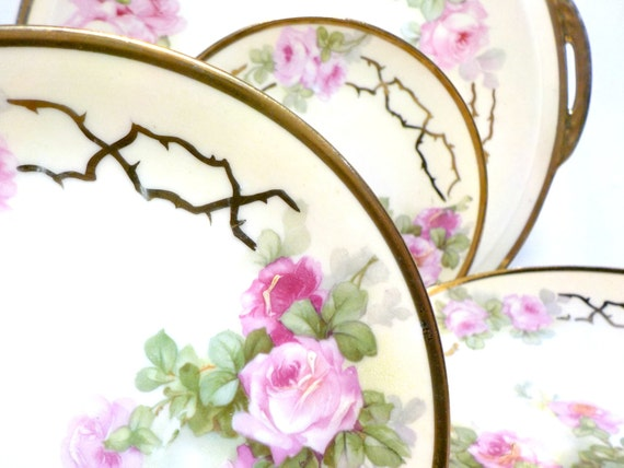 Prussia B Royal Rudolstadt Cake Plate and 6 Dessert Plates, Prussia Beyer and Bock 7 Pc Dessert Set, Pink Roses, 24kt Gold Trim, Early 1900s
