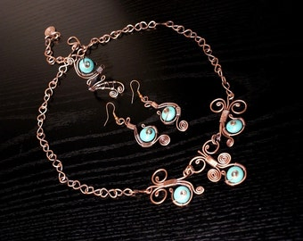 Copper jewelry set-turquoise jewelry set- earring-ring-necklace- wire wrapped jewelry handmade