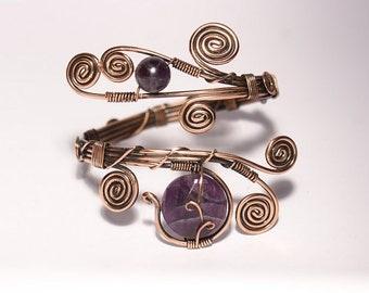 wire wrapped bracelet, amethyst bracelet, amethyst cuff bracelet, amethyst jewellery, copper cuff bracelet, wire wrap bracelet