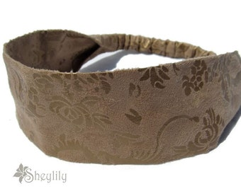 Faux Suede Headband Tan Leather Floral by Sheylily