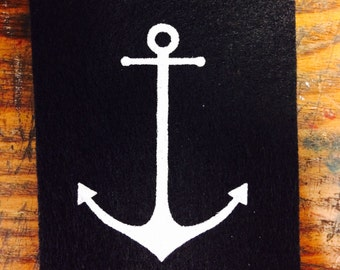 Nautical Anchor Patch - black felt screen printed patch