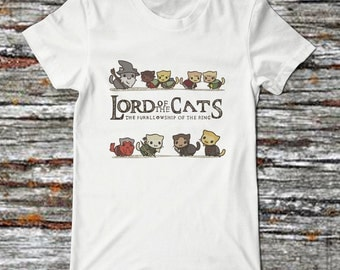 Lord of The Rings Funny t shirt lord of the cats Tolkien the hobbit