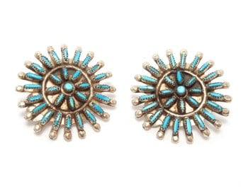 Vintage Zuni Petit Point Turquoise Earrings Fine Work Clip On