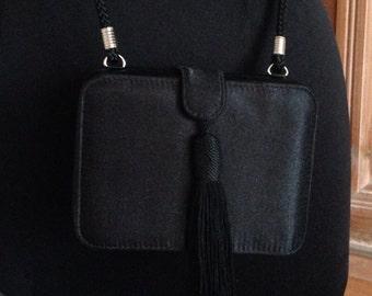 Jessica McClintock Black Satin Crossbody Evening Bag with Tassel