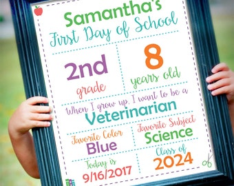 ORIGINAL Editable First Day of School White Background Sign || Instant Download Digital Printable File || Kindergarten Preschool || Reusable