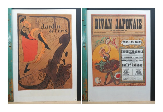 Vintage dance poster jane avril jardin de paris divan for Jardin de paris jane avril