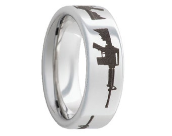 Serinium Wedding Band,Serinium Wedding Ring,AR 15,AR-15 Gun Laser Engraved,Rugged Collection,Comfort Fit,Engagement Band,Anniversary,8mm