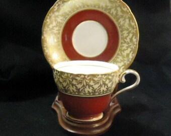 Aynsley Gold Gilt and Burgandy Tea Cup and Saucer