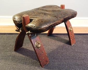 Vintage Leather Saddle Stool