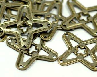 50 Pcs. Antique Brass 25 mm Filigree Charms Findings
