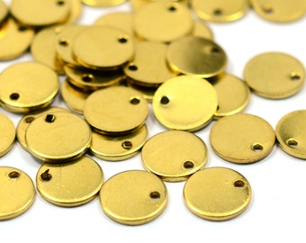 30 Pcs. Raw Brass Industrial 10 mm Round Disc- 18 Gauge  ( 1 mm Thickness )