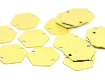 50 Pieces Raw Brass 12 mm Hexagon 2 Hole Findings Blanks