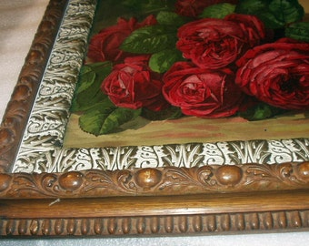Reserved Pymt#4 Paul de Longpre A Basket of Roses 1896 Original Antique Chromolithograph Print Gorgeous Museum Quality Wood Frame