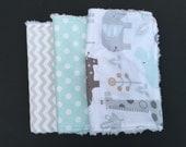 Baby Burp Cloths - Burp Rags - Gender Neutral - Baby Gift Set - Zoo Animals, Mint, Gray, and Chevron Nursery - Set of 3
